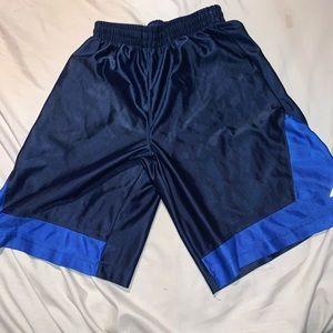 Blue and black basketball shorts